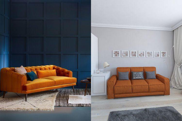 Оранжевый диван в интерьере: