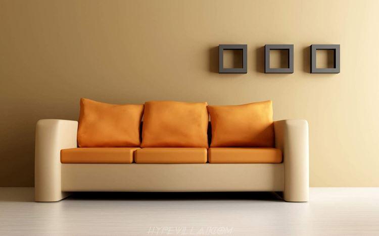 Оранжевый диван в интерьере: бежево-оранжевый трехместный диван