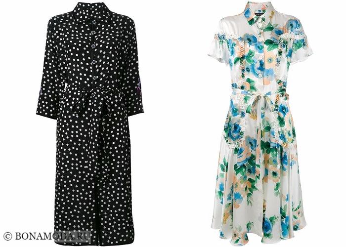 Платья-рубашки 2017-2018: принт горошек и цветочный стиль 40-х