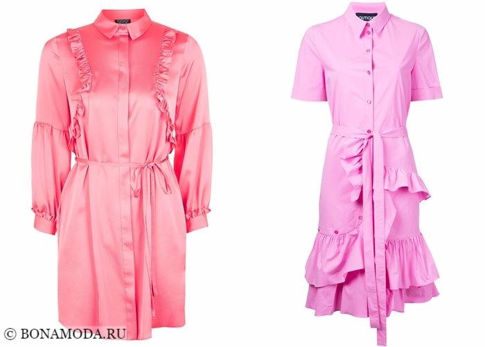 Платья-рубашки 2017-2018: розовые и коралловые с воланами