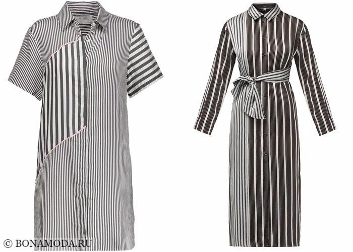 Платья-рубашки 2017-2018: серые полосатые