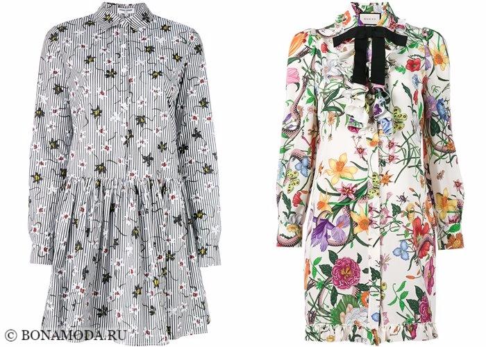 Платья-рубашки 2017-2018: цветочный рисунок