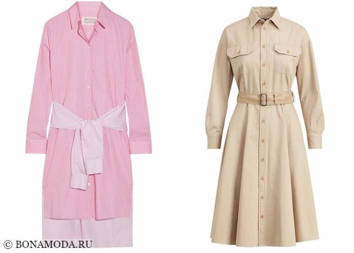 Платья-рубашки 2017-2018: розовые и бежевые с поясом