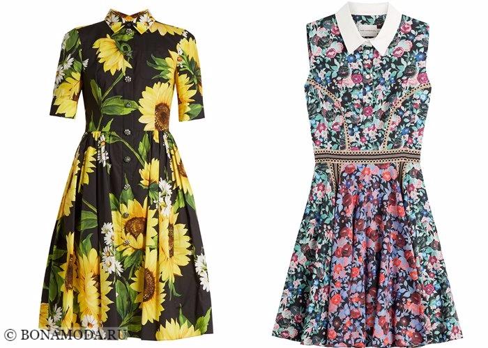 Платья-рубашки 2017-2018: приталенные цветочные