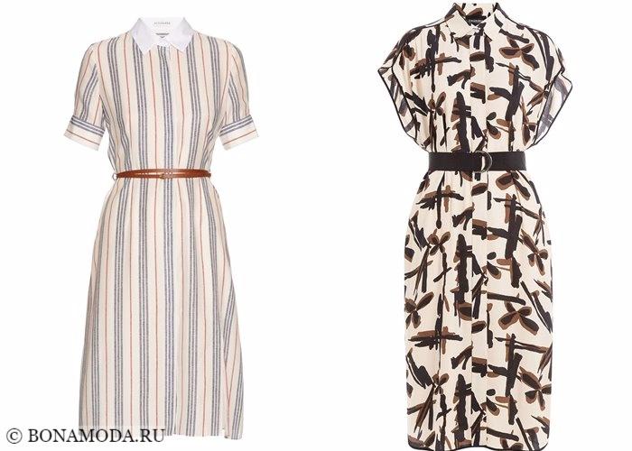 Платья-рубашки 2017-2018: приталенные с поясом и принтом
