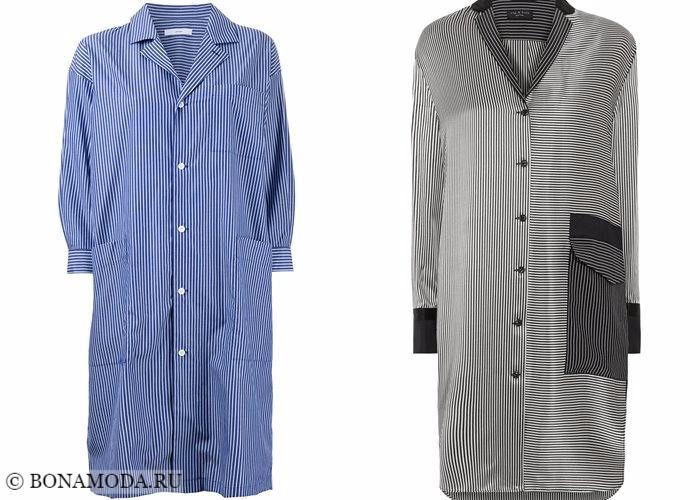 Платья-рубашки 2017-2018:  оверсайз в полоску