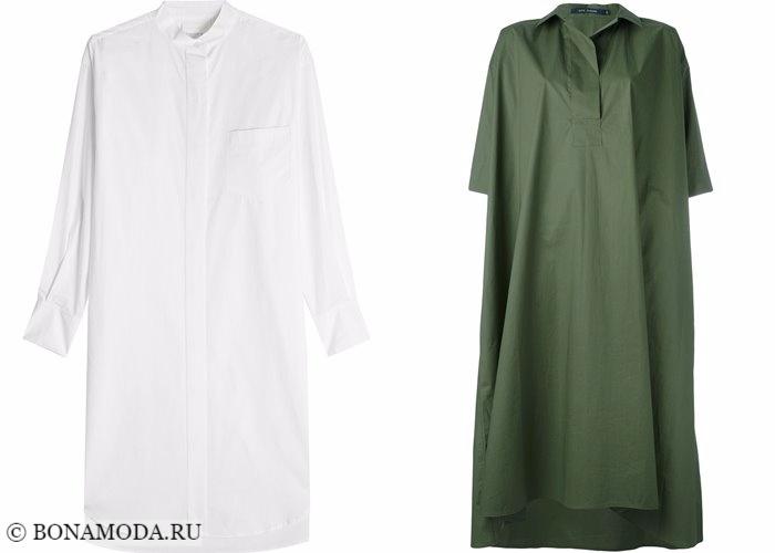 Платья-рубашки 2017-2018: оверсайз белый и хаки