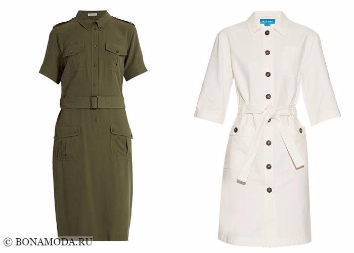 Платья-рубашки 2017-2018: стиль сафари