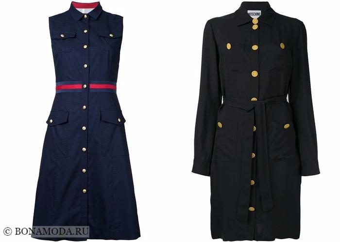 Платья-рубашки 2017-2018: стиль милитари