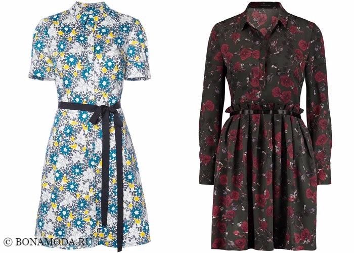 Платья-рубашки 2017-2018: цветочное ретро