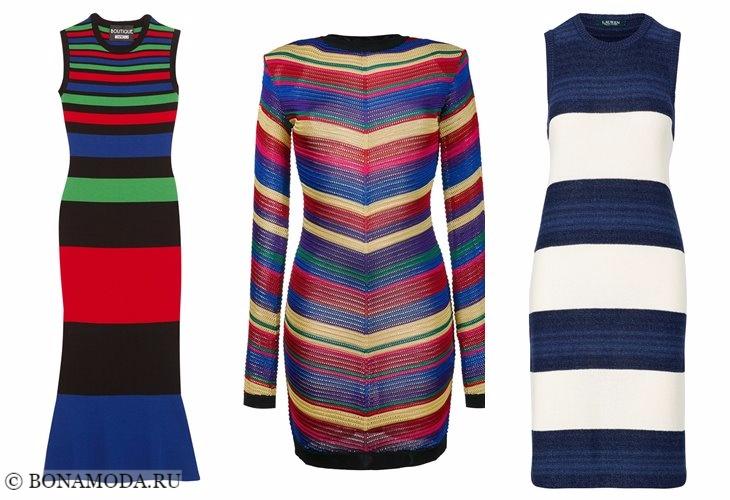 Вязаные платья 2017-2018: цветные в полоску