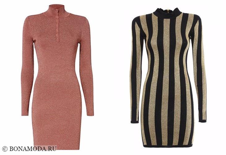 Трикотажные платья 2017-2018: облегающие с длинным рукавом