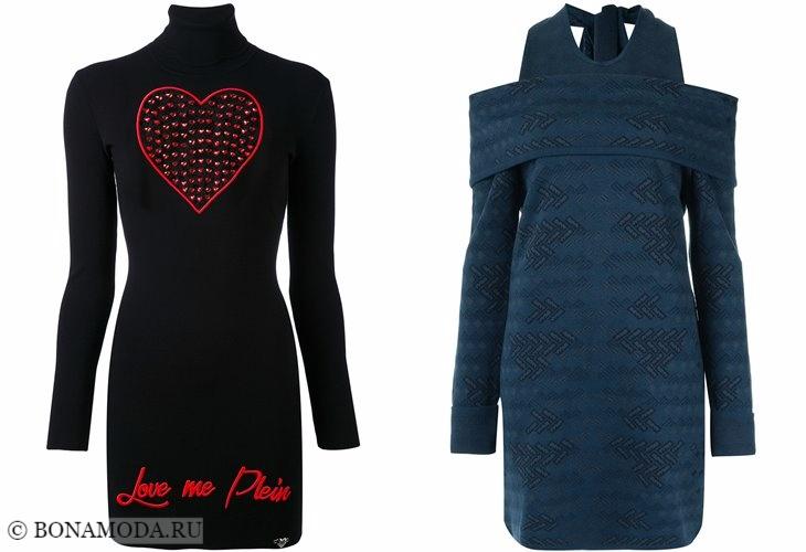 Вязаные платья 2017-2018: мини с длинными рукавами