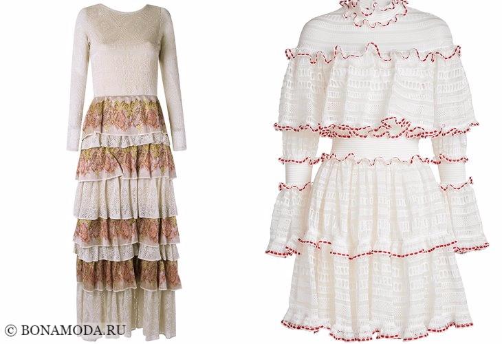 Трикотажные платья 2017-2018: многоярусные