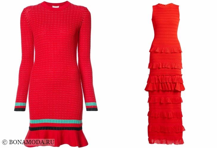 Вязаные платья 2017-2018: красные с воланами