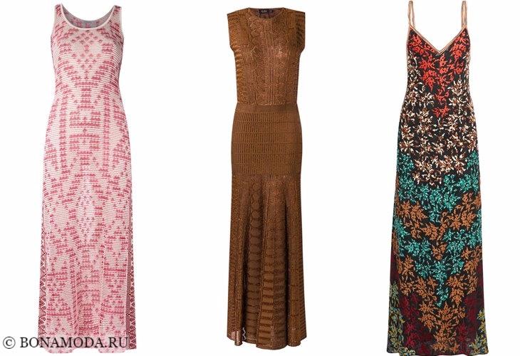 Трикотажные платья 2017-2018: длинные сарафаны