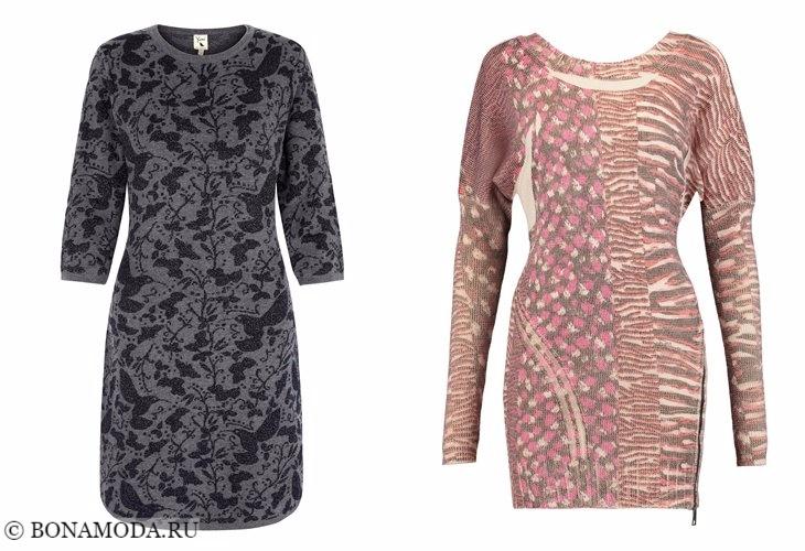 Трикотажные платья 2017-2018: короткие с узорами