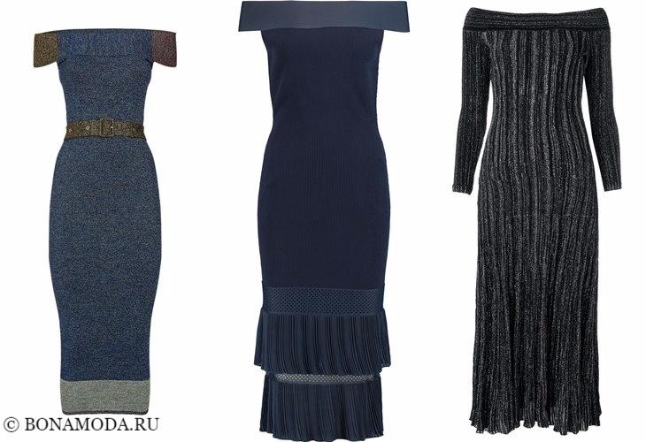 Трикотажные платья 2017-2018: открытые плечи