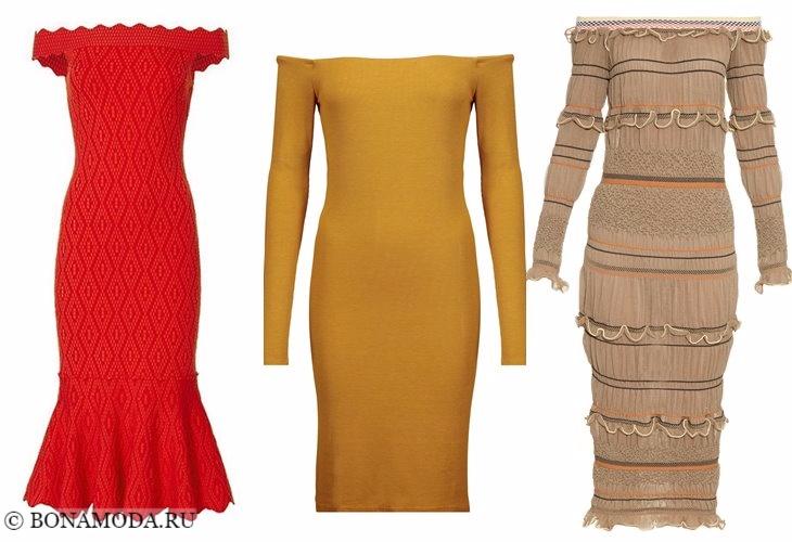 Вязаные платья 2017-2018: открытое декольте