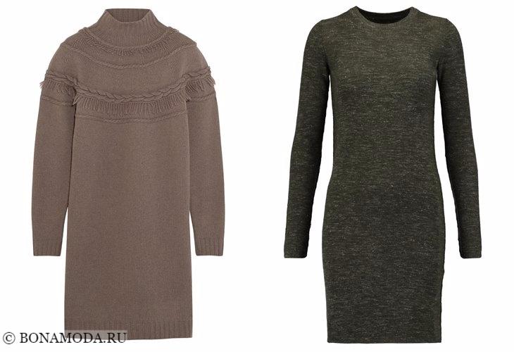 Трикотажные платья 2017-2018: свитер с длинными рукавами