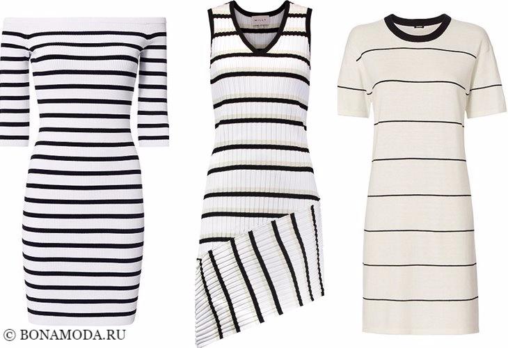 Трикотажные платья 2017-2018: черно-белые полосатые