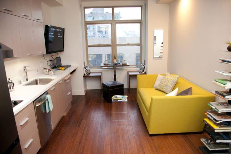 Жёлтый диван в интерьере: