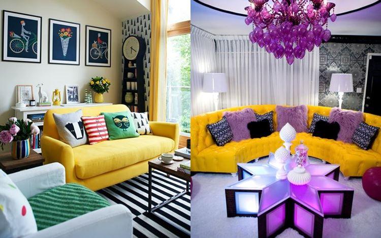 Жёлтый диван в интерьере: жёлтые диваны в комнате с зелёным, синим и сиреневым оттенками