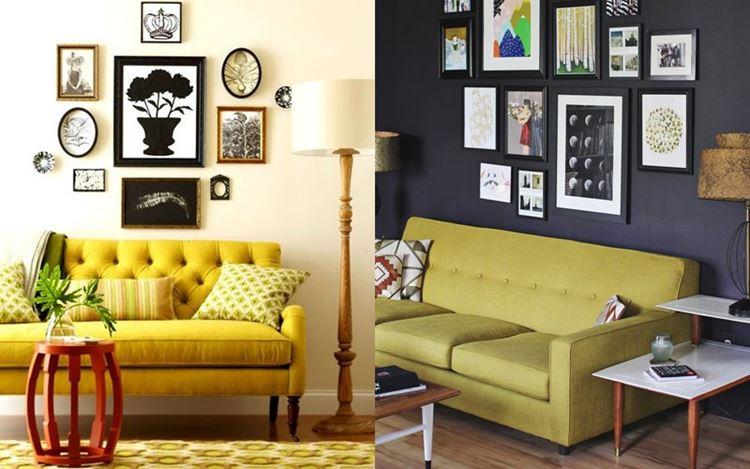 Жёлтый диван в интерьере:  гостиная с жёлтым диваном со светлой и тёмной стеной