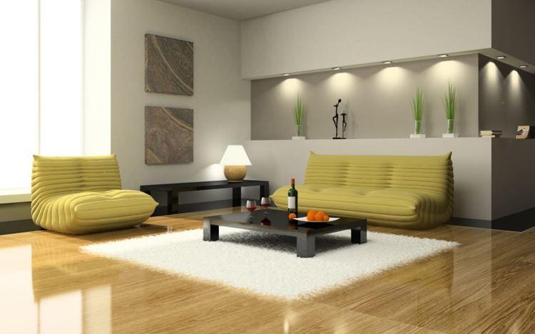 Жёлтый диван в интерьере: гостиная в стиле авангард с жёлто-зеленой мягкой мебелью и низким деревянным столиком