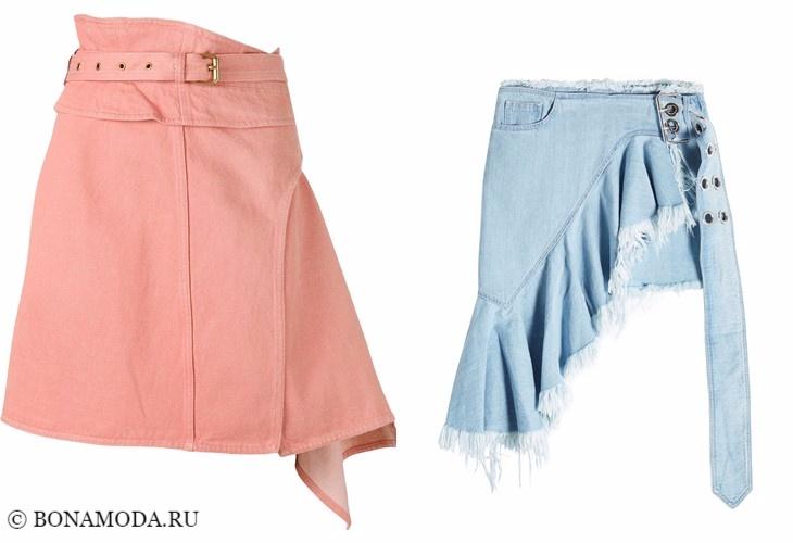 Джинсовые юбки 2017-2018: асимметричный дизайн