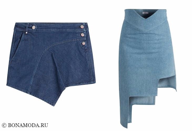 Джинсовые юбки 2017-2018: облегающие асимметричные