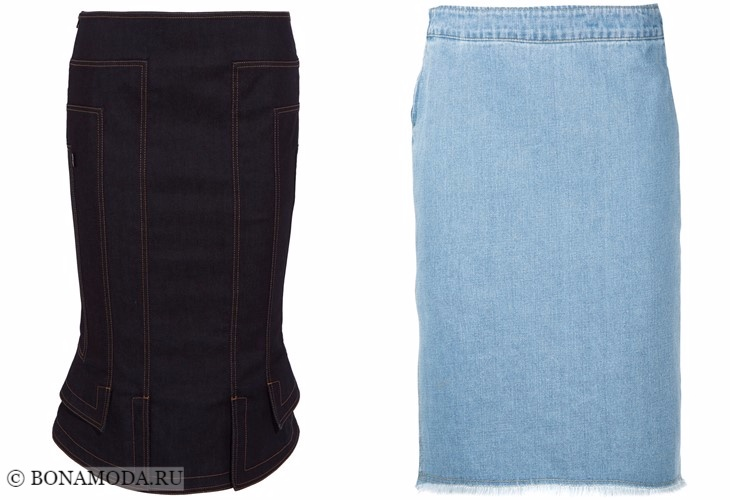 Джинсовые юбки 2017-2018: черная и голубая карандаш