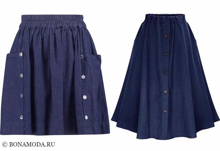 Джинсовые юбки 2017-2018: тёмно-синие пышные