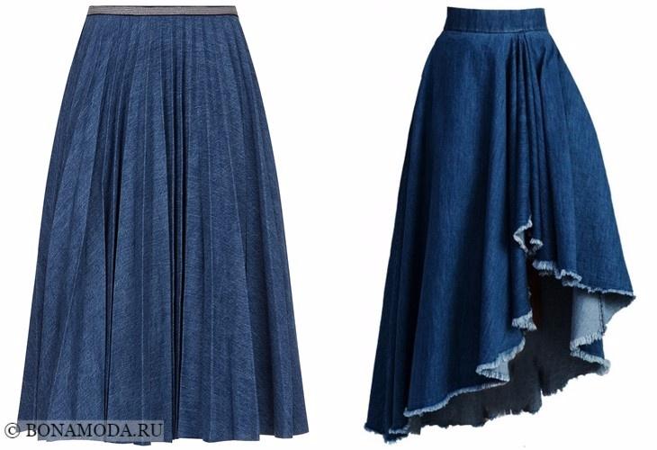 Джинсовые юбки 2017-2018: миди пышные плиссированные