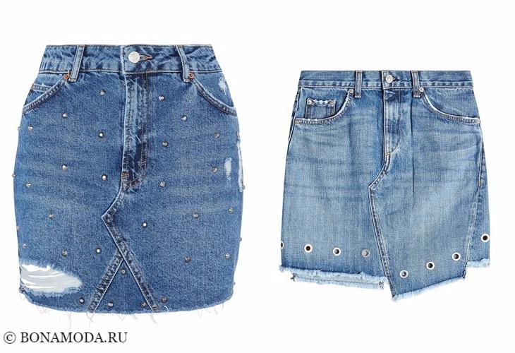 Джинсовые юбки 2017-2018: короткие мини с заклепками