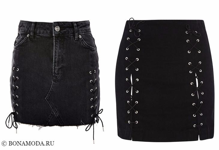 Джинсовые юбки 2017-2018: короткие чёрные со шнуровкой