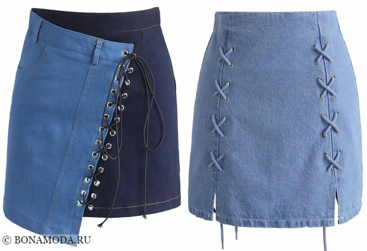 Джинсовые юбки 2017-2018: короткие голубые со шнуровкой