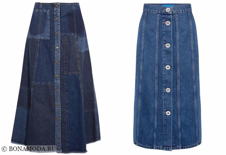 Джинсовые юбки 2017-2018: длинные на пуговицах