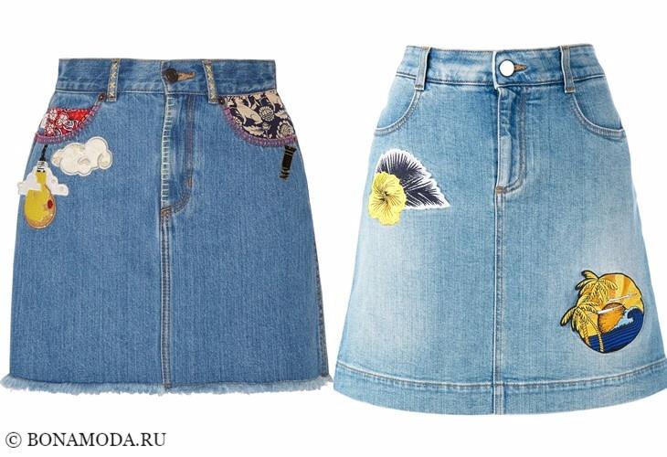 Джинсовые юбки 2017-2018: короткие и светлые с аппликациями