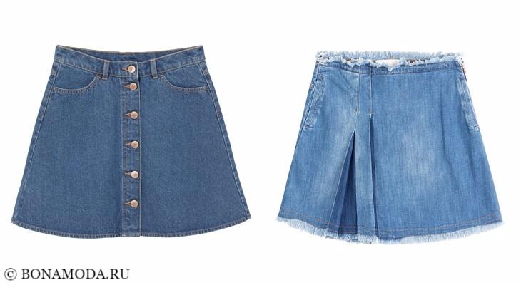 Джинсовые юбки 2017-2018: короткие трапециевидные
