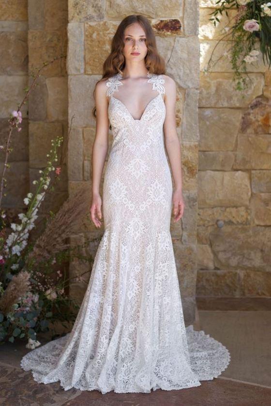 Греческие свадебные платья 2017-2018: кружевная ткань