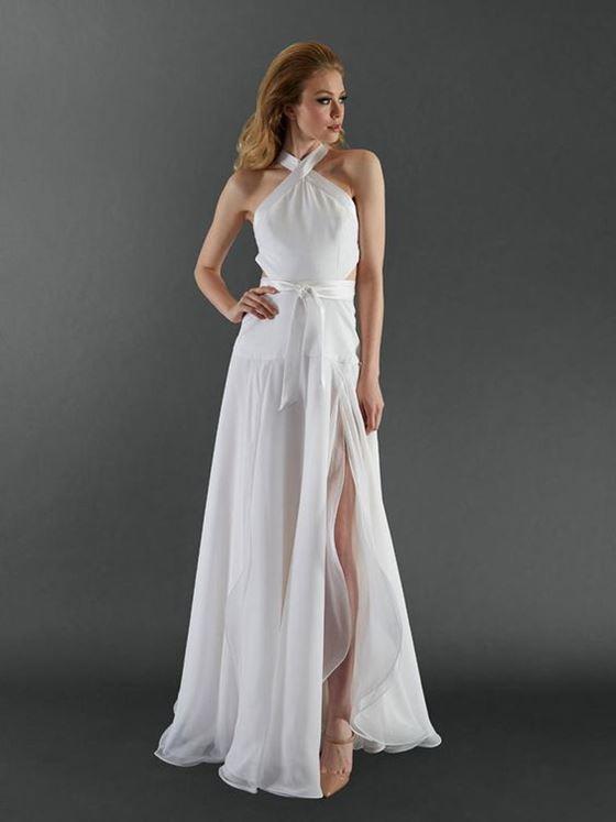 Греческие свадебные платья 2017-2018: глубокий боковой разрез