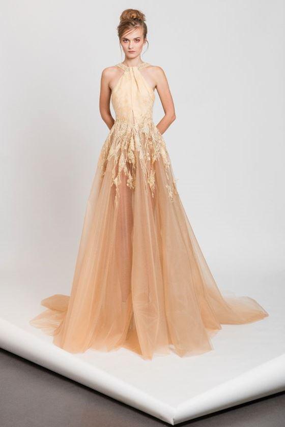 Греческие свадебные платья 2017-2018: бежевое с тюлевой юбкой
