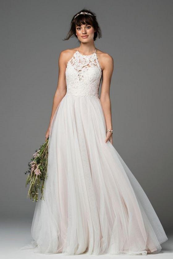 Греческие свадебные платья 2017-2018: кружевной лиф и тюлевая юбка
