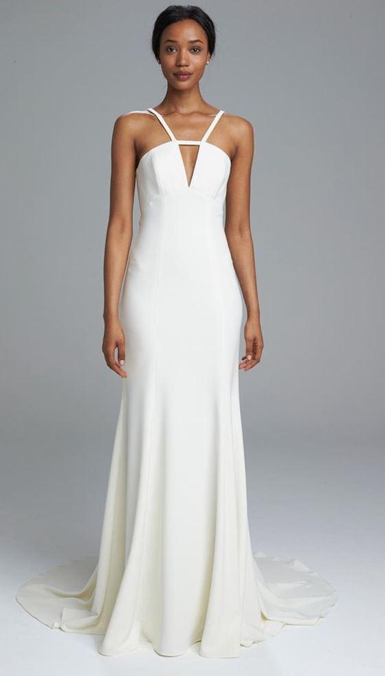 Греческие свадебные платья 2017-2018: элегантное минималистичное на тонких бретелях