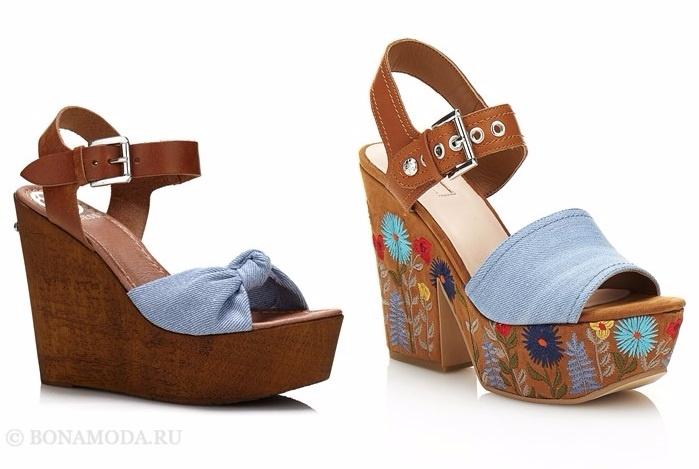 Коллекция обуви Guess весна-лето 2017: джинсовые сабо на деревянной платформе и танкетке