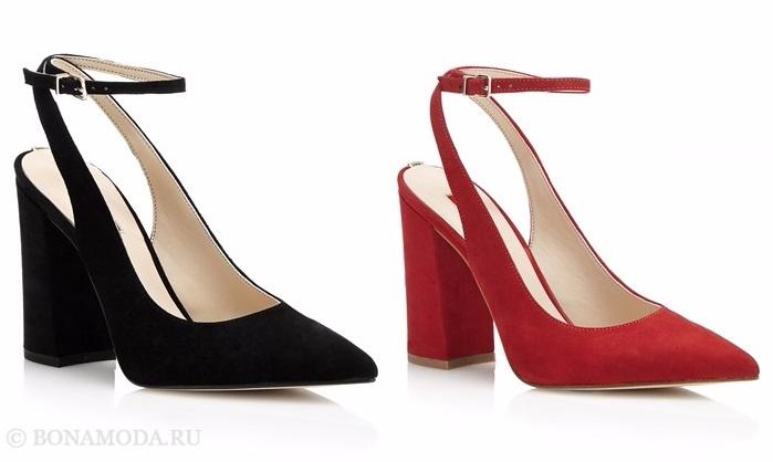 Коллекция обуви Guess весна-лето 2017: черные и красные туфли-лодочки из замши на толстом каблуке