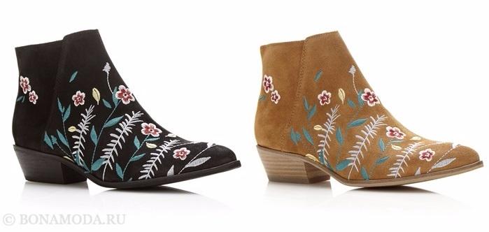 Коллекция обуви Guess весна-лето 2017: замшевые ковбойские ботильоны с вышивкой