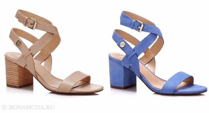Коллекция обуви Guess весна-лето 2017: бежевые и голубые босоножки на низком толстом каблуке