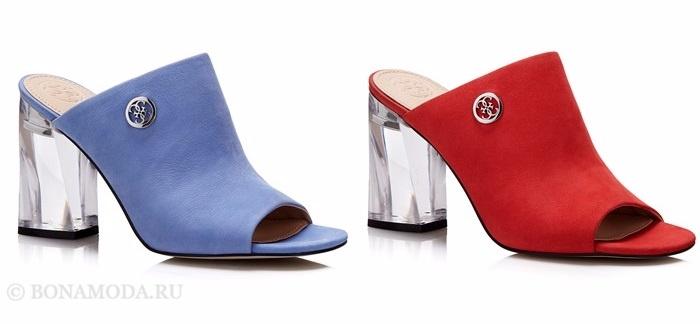 Коллекция обуви Guess весна-лето 2017: голубые и красные шлепанцы на высоком каблуке
